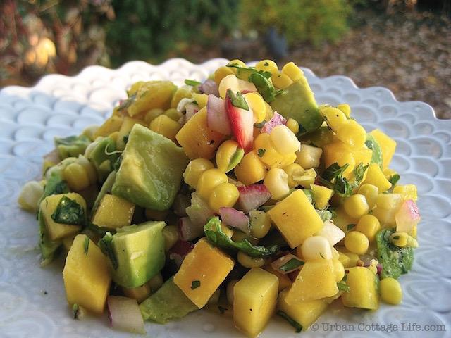 Mango Corn Salsa Over Lemony Chicken Breasts   © Urban Cottage Life.com