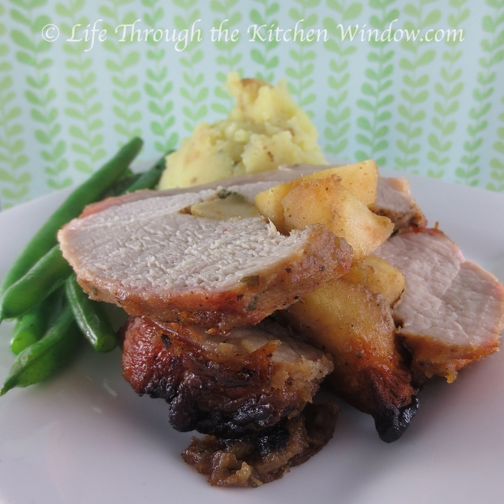 Roasted Pork Loin with Caramelized Apple Stuffing & Apple Butter Glaze | © Life Through the Kitchen Window.com