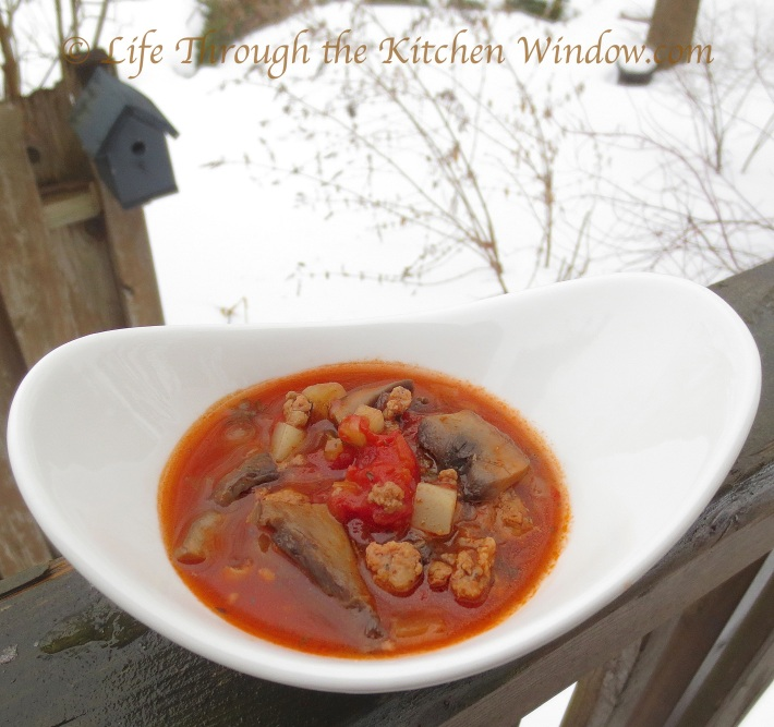 Portobello Mushroom & Sausage Soup | © Life Through the Kitchen Window.com