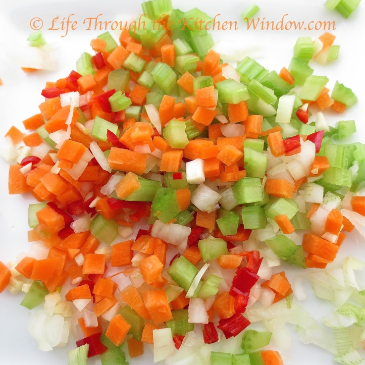 Vegetables Ready for Braised Lentils | © Life Through the Kitchen Window.com