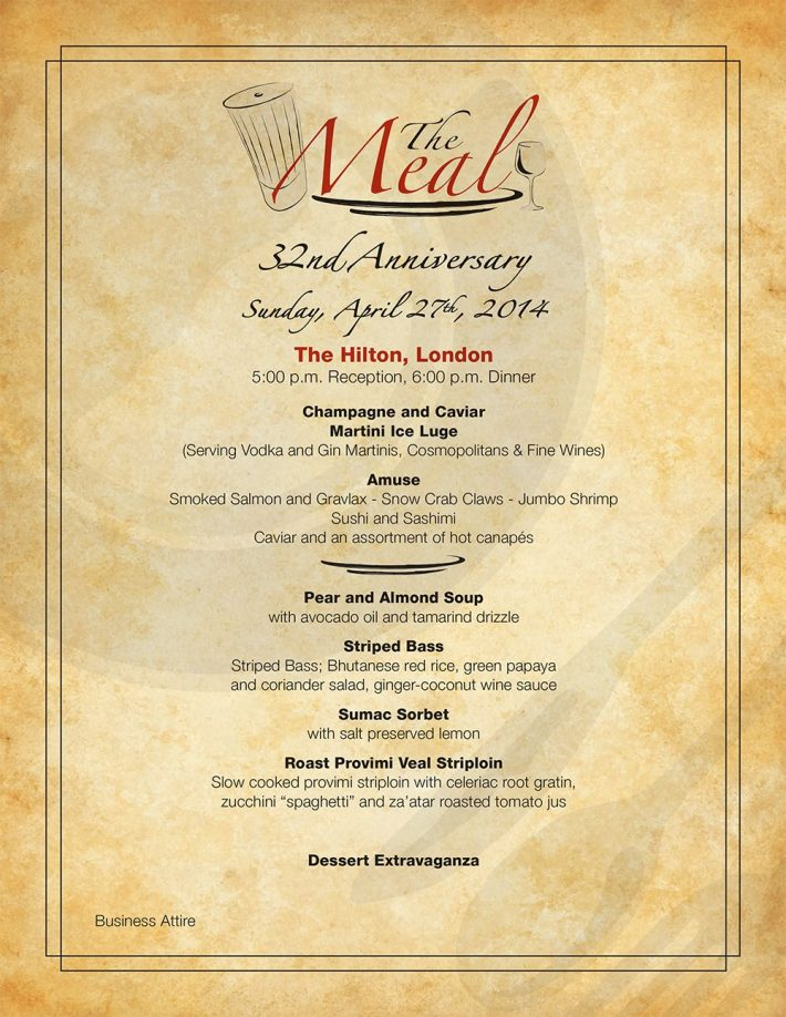 The Meal 2014: Menu
