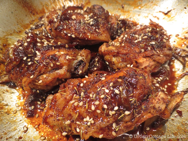 Pomegranate Molasses-Glazed Chicken Thighs | © Urban Cottage Life.com
