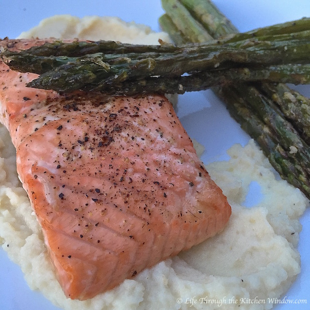 Lemon Honey Salmon on Celeriac Puree | © Life Through the Kitchen Window.com