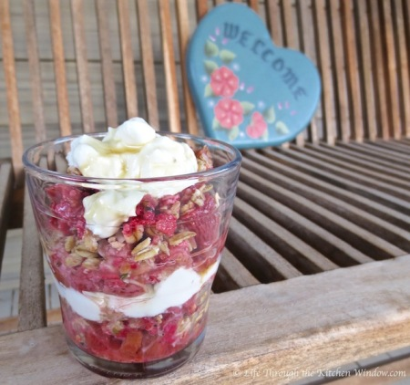 Strawberry Rhubarb Coconut Crisp Parfait | © Life Through the Kitchen Window.com
