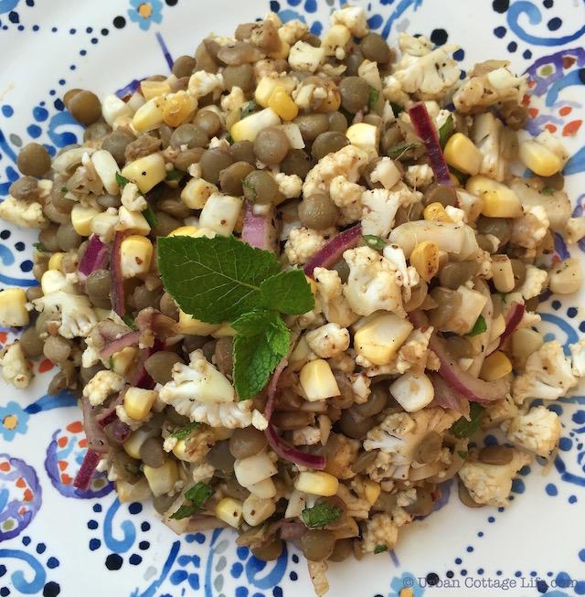 Lentil, Corn & Cauliflower Salad | © Urban Cottage Life.com